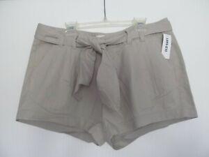 """NEW tie-waist Old Navy tan beige SHORTS size 8 cotton 3.5"""" inseam summer"""