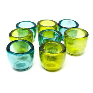 Crate & Barrel Soiree Votive Glass Tealight Candle Holder Blue & Green, SET of 8