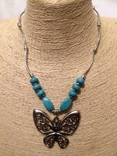 Silver Tone Elephant Pendant Chain Necklace W// Turquoise Stone Jewelry UK NL177