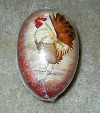 Country Rooster Paper Mache Germany Easter Egg Candy Box 4 1/2""