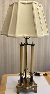 """Antique French Rocco Bouillotte Brass 3 Arm Candelabra Table Lamp & Shade 27"""""""