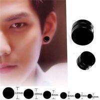 1Pair Men Black Round Magnetic Clip On Ear Stud Earrings No Piercing Jewelry