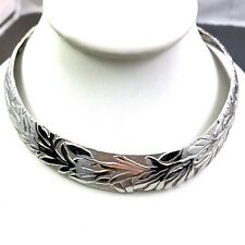 VINTAGE DESIGNER LANVIN NECKLACE CHOKER SLEEK SILVER TONE METAL GERMANY