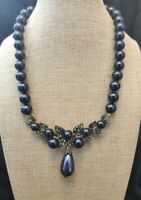 Heidi Daus Blueberry Cluster Crystal Drop Necklace NWT