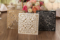10x Laser Cut Elegant Wedding Invitation Card w/Envelop; Free Black Printing