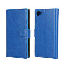 For Sony Xperia Z5 Compact Leather Wallet Card Flip Case Cover Stand Blue