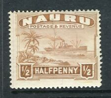 NAURU; 1924 early pictorial issue fine Mint hinged 1/2d. value