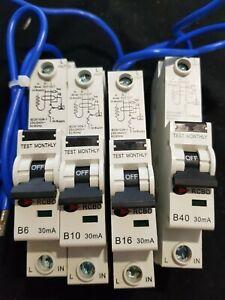 CONSUMER UNIT RCBO 6/30/SP B6 6A 10/30/SP B10 10A 16/30/SP B16 16A 40/30/SP B40