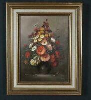 Quadro antico Natura morta dipinto Firmato olio su tavola vaso con fiori XX sec