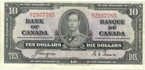 Canada $10 Dollars Currency Banknote 1937 XF