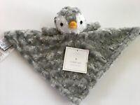 Manhattan Kids Baby Grey Gray Penguin Rosette Plush Cuddly Pal Security Blanket