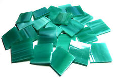 25 tiles - 3/4 inch TEAL GREEN WHITE WISPY SPECTRUM Stained Glass Mosaic Tiles