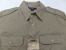Men's DANIEL CREMIEUX Khaki Tan Linen Pocket Safari Shirt M Medium NWT NEW