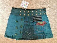 GRINGO Boho Hippy Short POPPER SKIRT Freesize Fit 8 - 16 Psy Wrap BLUE  Skirt