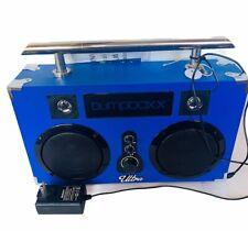 Bumpboxx portable stereo boombox blue carbon fiber ultra bluetooth speaker radio