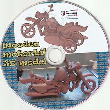 Wooden motorbike & sidecar on DVD modelled in DesignSpark Mechanical CAD s/ware