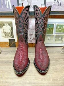 LUCCHESE CLASSICS HANDMADE EXOTIC RED STINGRAY 9.5EE MENS COWBOY BOOTS