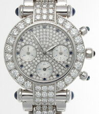 AUTHENTIC CHOPARD IMPERIALE 18K WHITE GOLD DIAMOND & SAPPHIRE WATCH 38/3331-23