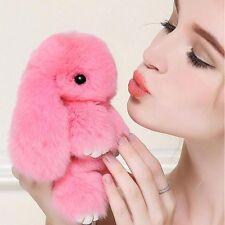 Pink Bunny Rex Rabbit Fur Phone Car Pendant Handbag Key Chain Ring Pom 14cm