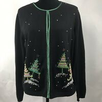 Talbots XL Beaded Christmas Cardigan Sweater Womens Embellished Trees Snow Ugly