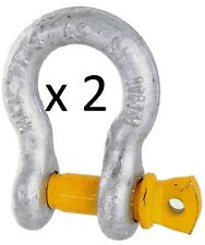 2 X 3.25T BOW SHACKLE 16MM 3200KG 19200KG RATED LOAD HAYMAN D CAR TOW TRAILER