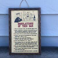 VINTAGE MIDCENTURY BAR RULES SIGN FRAMED REGULATIONS OF THIS BAR 1950S KITSCH