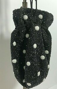 Ganni Hand Beaded Black & White Drawstring Pouch