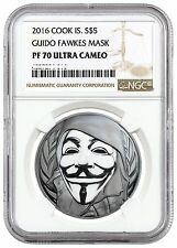 2016 Cook Islands 1 oz .999 Silver Guido Guy Fawkes Mask NGC PF70 ANONYMOUS pcgs