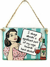 Humorous Alcohol Related -Allocate Wages- Mini Metal Plaque/Sign - Retro-Vintage