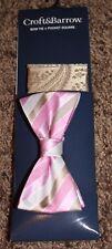 NEW mens CROFT & BARROW 2-pc BOW TIE pink POCKET SQUARE striped ADJUST