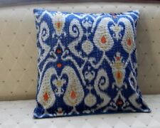 Blue Ikat print throw pillow Decorative pillow cover for sofa.16x16 more colors