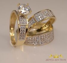 Diamond His Her Wedding 14K Yellow Gold FN Trio Bridal Band Engagement Ring  Set