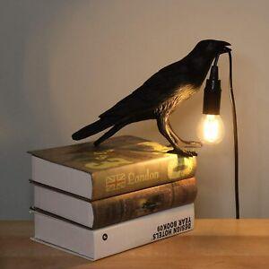 Vintage Table Lamps Resin Bird Desk Light Bedroom Home Decoration Crow Raven