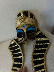 Handmade Theatrical Egyptian PHARAOH King Adult Costume Half Mask