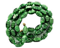 "Vintage Green Agate Marbled Glass Barrel Bead Necklace 25"" Long - GIFT BOXED"