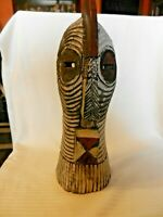 """Vintage Wooden Hand Carved Tribal Mask Wall Art Figurine 16.5"""" Tall"""
