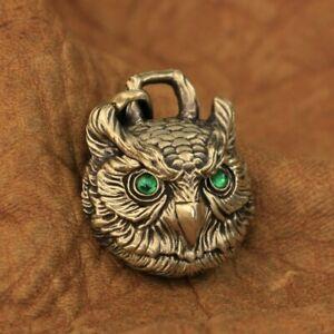 Green CZ Eyes Details Brass Owl Pendant Mens Biker Punk Pendant BR277A JP