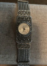 Wristwatch,womens,silver,antique look,pearl face,rhinestone,quartz