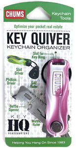 Chums Key Quiver Pink / White Bottle Opener Keychain Multi Tool - Fits 5 Keys