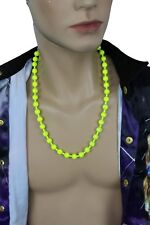 Gangster Men Long Fashion Necklace Neon Yellow Metal Balls Bling Hip Hop Jewelry