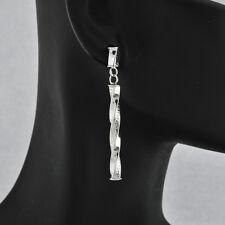 Modern Light Weight 14 k White Gold Unique Long Dangle Earrings