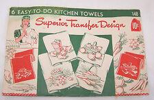 1940'S VINTAGE SUPERIOR TRANSFER DESIGNS-KITCHEN TOWELS PATTERNS-FRUIT-VEGIE-SEW
