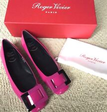 New RV Roger Vivier Hot  PINK and black Gommette Leather Ballet Flat U LOOK 37 7