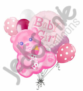 7 pc Baby Girl Pink Bear Balloon Bouquet Party Decoration Shower Welcome Home