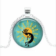 Kokopelli Sun Dance necklace Cabochon Glass silver Chain Pendant Necklace
