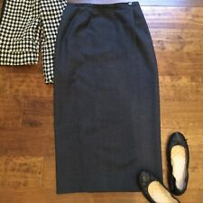 VIntage Brooks Brothers Womens Sz 10 Gray Wool Midi/Maxi Pencil Wrap Skirt Lined