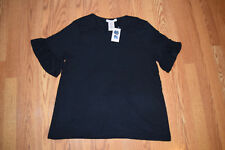 NWT Womens Philosophy Black Short Peplum Bell Sleeves Size L Large $58