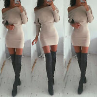 Womens One Shoulder Bodycon Mini Dress Ladies Long Sleeve Party Jumper Long Tops
