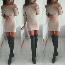 Fashion Womens Off Shoulder Sweater Long Sleeve Casual Party Bodycon Mini Dress