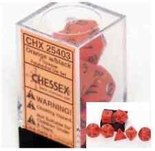 Polyhedral 7-Die Opaque Dice Set - Orange with Black CHX 25403